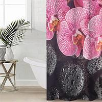 Штора для ванной комнаты 'Орхидея на чёрных камнях', 145x180 см, оксфорд
