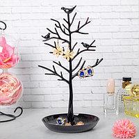 Подставка для украшений 'Птички на дереве', 15,5*15,5*32 см, цвет чёрный