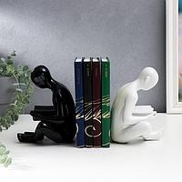 Держатель для книг 'Читатели' набор 2 шт белый и чёрный 17,5х14 см