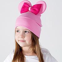 Шапка для девочки 'Мышка', цвет розовый/принт бант фуксия, размер 50-54