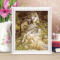 Роспись по холсту 'Отдыхающие волки' по номерам с красками по 3 мл+ кисти+крепёж, 30 x 40 см