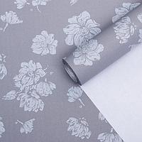 Бумага упаковочная крафт 'Цветы светло-серые', 0,55 х 10 м, 70 г/м