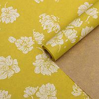 Бумага упаковочная крафт 'Цветы жёлтые', 0,6 х 10 м, 40 г/м