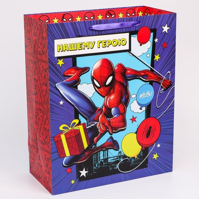 Пакет ламинат вертикальный 'С Днем рождения', Человек-паук, 40х49х19 см - фото 1