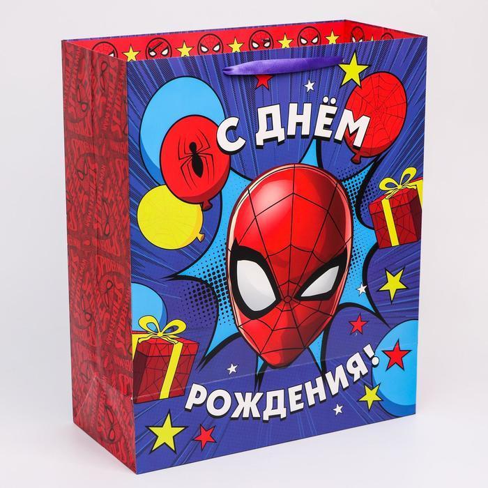 Пакет ламинат вертикальный 'С Днем рождения', Человек-паук, 40х49х19 см - фото 2