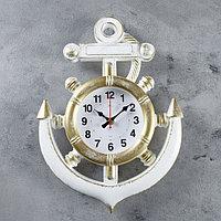 Часы настенные, серия Море, 'Якорь', бело-золотые, 39 см