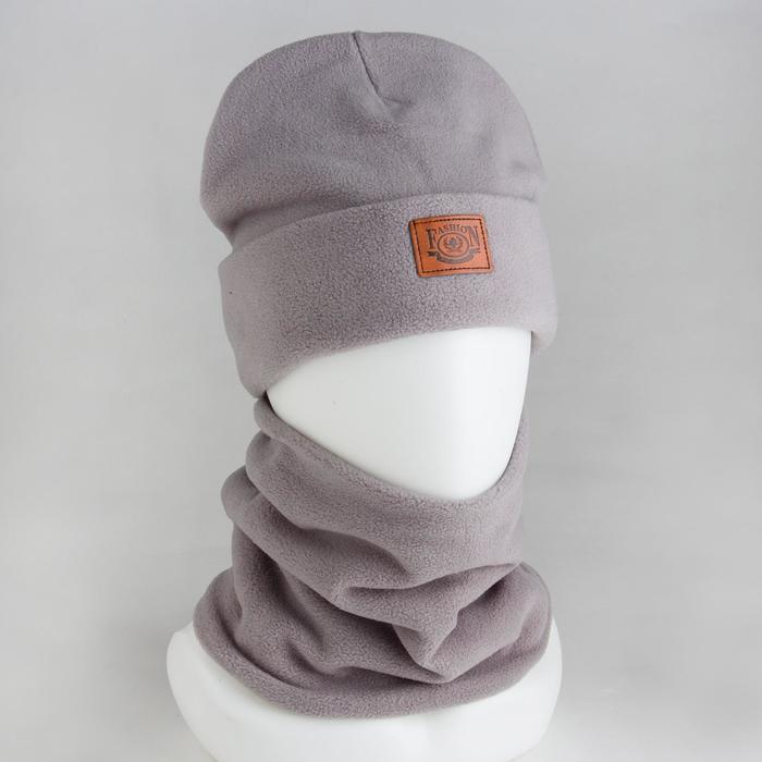 Комплект (шапка, снуд) детский, цвет серый, размер 54-56 - фото 1