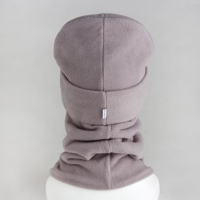 Комплект (шапка, снуд) детский, цвет серый, размер 54-56 - фото 2