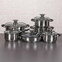 Набор посуды 'Джули', 6 предметов кастрюли 1,9/2,7/3,6/6,1 л, ковш 1,9 л, сотейник с антипригарным покрытием