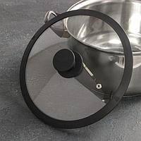 Крышка для сковороды и кастрюли Доляна стеклянная с силиконовым ободком и ручкой, d24 см, цвет чёрный