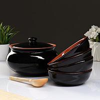 Набор посуды 'Вятская керамика' 2,5л 4х0,5л деревянная ложка, черный
