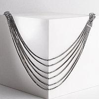 Набор 2 предмета серьги, колье 'Элегантность' косичка, цвет белый в сером металле, 100 см