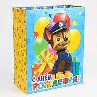 Пакет ламинат вертикальный 'С Днем рождения', Щенячий патруль, 40х49х19 см
