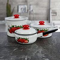 Набор посуды 'Клубника садовая', 3 шт кастрюли 2/3,5 л ковш с крышкой 1,5 л