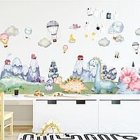 Наклейка пластик интерьерная цветная 'Динозавры и воздушные шары' 30х90 см набор 2 листа