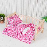 Постельное бельё для кукол 'Зайчики на розовом', простынь, одеяло, подушка
