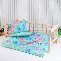 Кукольное постельное 'Зверюшки на зеленом', простынь, одеяло 46х36 см, подушка 27х17 см