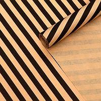 Бумага упаковочная бурый крафт 'Полосы наклонные чёрные', 0,6 х 10 м, 70 г/м