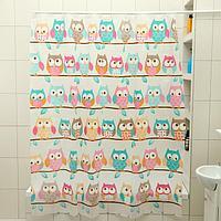 Штора для ванной комнаты Доляна 'Совушки', 180x180 см, EVA