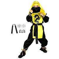 Карнавальный костюм 'Ниндзя чёрный дракон' с оружием, р. 36, рост 140 см, цвет жёлтый