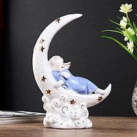 Сувенир керамика 'Спящий ангел на месяце' с золотом 23,5х15,5х7 см