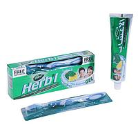 Набор Dabur Herb'l гель зубной освежающий с мятой и лимоном, 150 г + зубная щётка