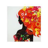 Картина на стекле 'Оранжевая феерия дамы'30*30см