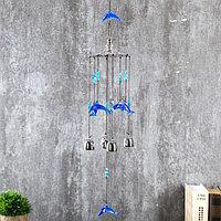 Музыка ветра металл, пластик 4 колокольчика 'Дельфины' 64х10 см