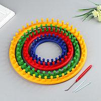 Набор устройств для вязания 'Лум', 4 шт. d14 см, 19 см, 24 см, 30 см, крючок и игла в комплекте
