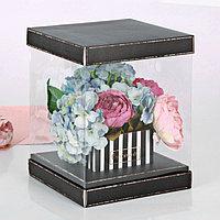 Коробка для цветов с вазой и PVC-окнами складная 'Для тебя с любовью', 23 x 30 x 23 см (комплект из 3 шт.)