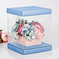 Коробка для цветов с вазой и PVC-окнами складная 'Счастья!', 23 x 30 x 23 см (комплект из 3 шт.)