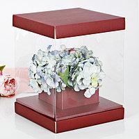 Коробка для цветов с вазой и PVC-окнами складная 'Для самой элегантной', 23 x 30 x 23 см (комплект из 3 шт.)