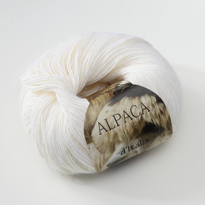 Пряжа 'Alpaca D'Italia' 50 альпака, 50 нейлон 300м/50гр (02 белый) - фото 2