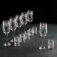 Набор подарочный 'Лилия', 12 предметов 6 бокалов 200 мл, 6 стопок 50 мл, гравировка, отводка золотом