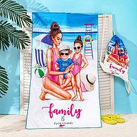 Полотенце пляжное в сумке Этель 'Family' 70х140 см, микрофибра