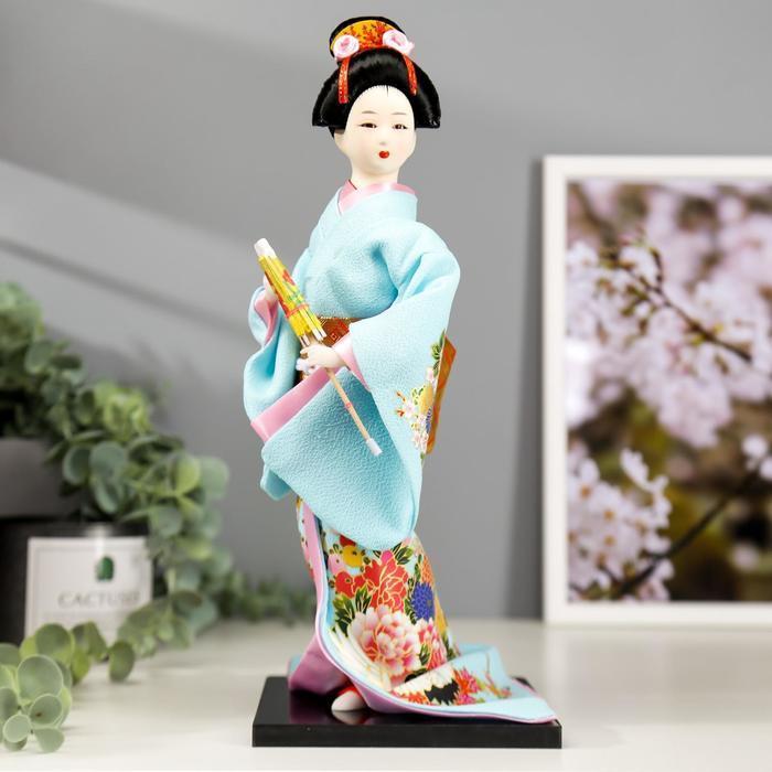 Кукла коллекционная 'Японка в голубом кимоно с зонтом' 30х12,5х12,5 см - фото 1