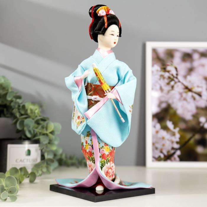 Кукла коллекционная 'Японка в голубом кимоно с зонтом' 30х12,5х12,5 см - фото 2