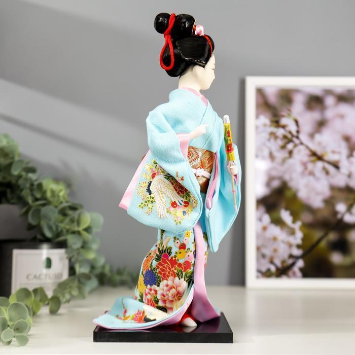 Кукла коллекционная 'Японка в голубом кимоно с зонтом' 30х12,5х12,5 см - фото 3