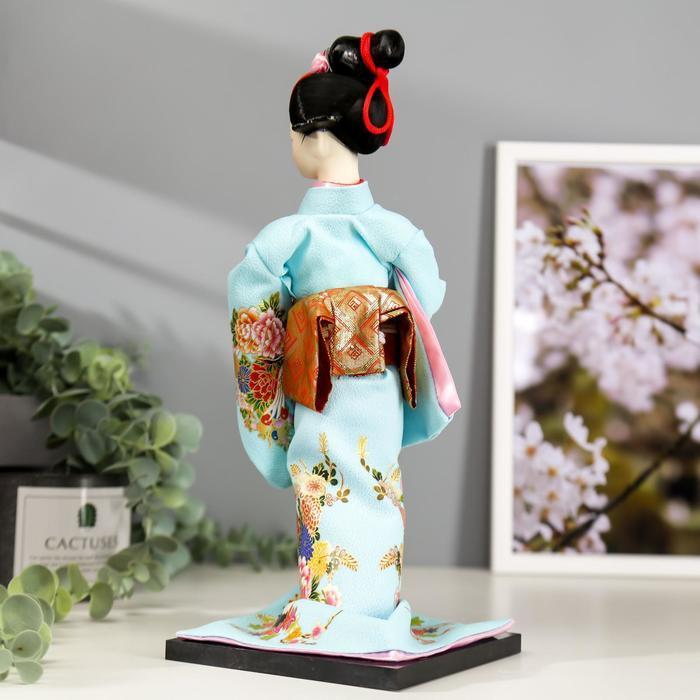 Кукла коллекционная 'Японка в голубом кимоно с зонтом' 30х12,5х12,5 см - фото 4
