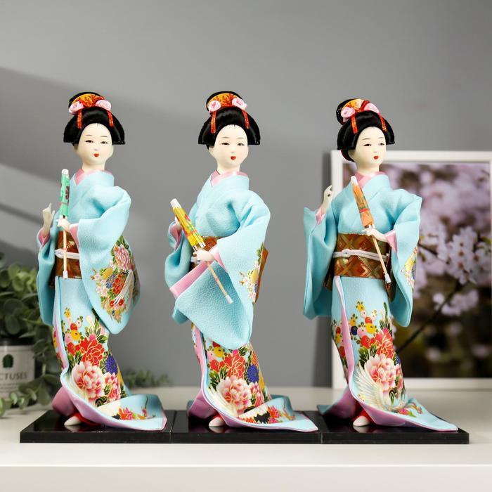 Кукла коллекционная 'Японка в голубом кимоно с зонтом' 30х12,5х12,5 см - фото 5