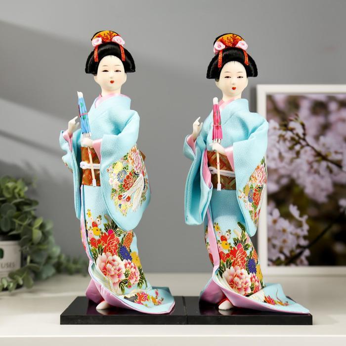 Кукла коллекционная 'Японка в голубом кимоно с зонтом' 30х12,5х12,5 см - фото 6