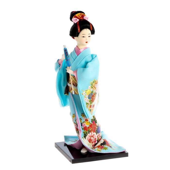 Кукла коллекционная 'Японка в голубом кимоно с зонтом' 30х12,5х12,5 см - фото 7