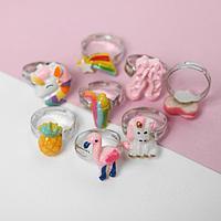 Набор колец детских 'Мишка' фламинго и единорожки, форма МИКС, цветные