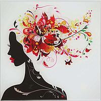 Картина на стекле 'Девушка в цветах (лилия)' 30*30см