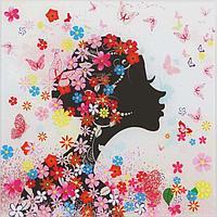 Картина на стекле 'Девушка в цветах (незабудки)' 30*30см