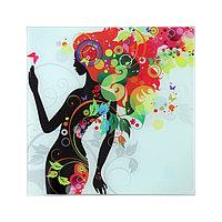 Картина на стекле 'Девушка в цветах (листья)' 30*30см