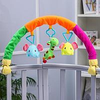 Дуга игровая мягкая на коляску/кроватку 'Слоники', 3 игрушки, МИКС