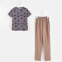 Пижама женская, цвет какао, размер 44