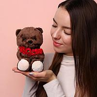 Мягкая игрушка 'Ted с красным букетом', мишка