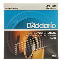 Струны для акустической гитары DAddario EJ11 BRONZE 80/20 бронза Light 12-53